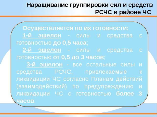 Наращивание группировки сил и средств РСЧС в районе ЧС Осуществляется по их г...