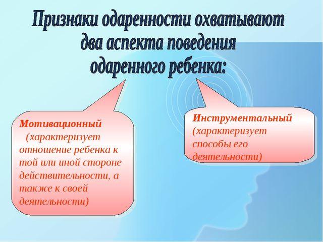 Инструментальный (характеризует способы его деятельности) Мотивационный (хара...