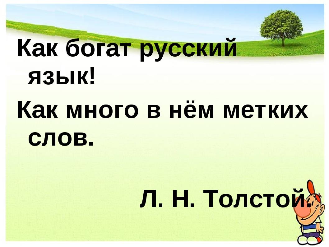 Как богат русский язык! Как много в нём метких слов. Л. Н. Толстой.