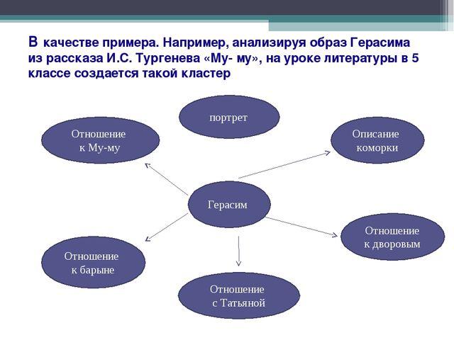 В качестве примера. Например, анализируя образ Герасима из рассказа И.С. Тург...