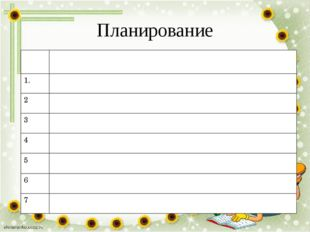 Планирование Задачи 1. 2 3 4 5 6 7