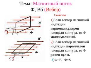 Тема: Магнитный поток Ф, Вб (Вебер) -поток векторов магнитной индукции, прони