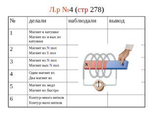 Л.р №4 (стр 278) № делалинаблюдаливывод 1Магнит в катушке Магнит вх и вых