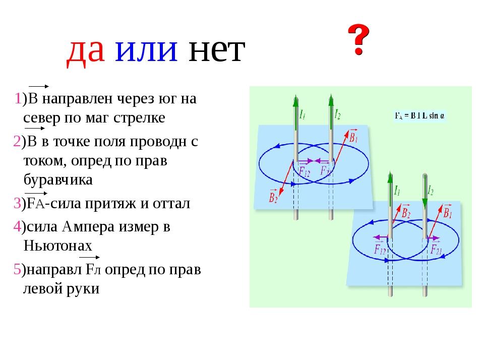 да или нет 1)В направлен через юг на север по маг стрелке 2)В в точке поля пр...