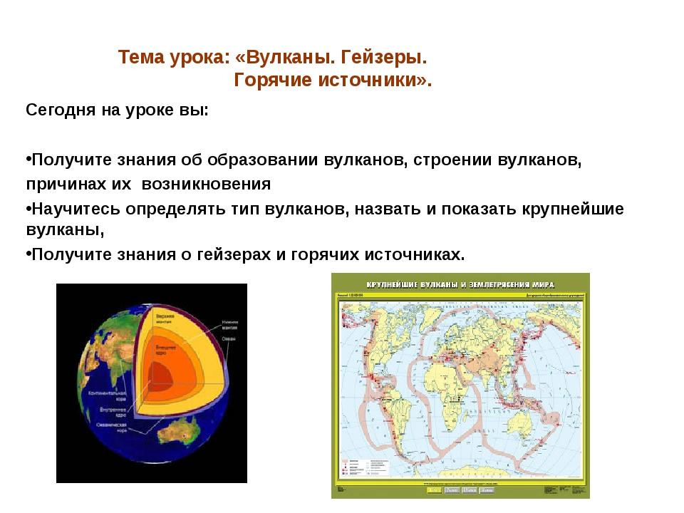 Тема урока: «Вулканы. Гейзеры. Горячие источники». Сегодня на уроке вы: Получ...