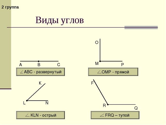 Виды углов АВС - развернутый ОМР - прямой KLN - острый FRQ – тупой 2 группа