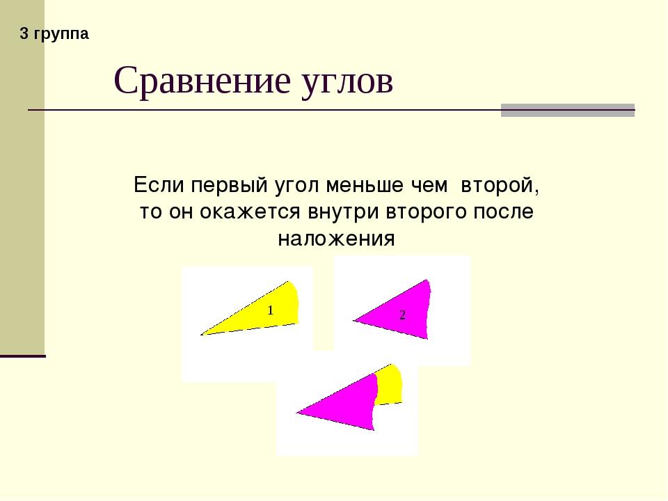 Сравнение углов Если первый угол меньше чем второй, то он окажется внутри вто...