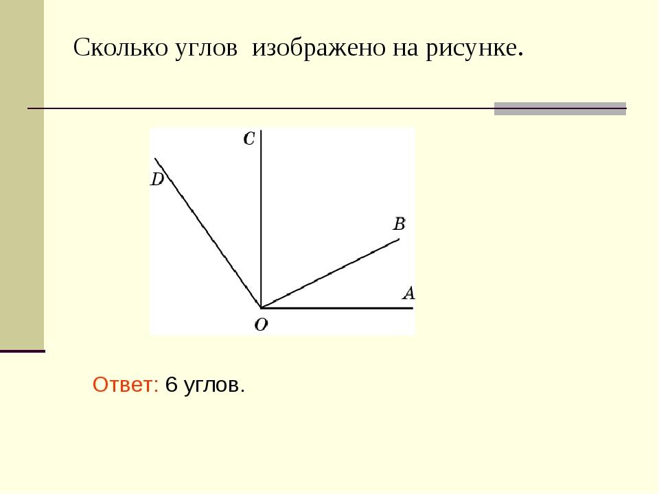 Сколько углов изображено на рисунке. Ответ: 6 углов.