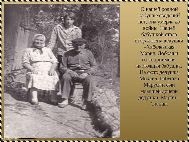 О нашей родной бабушке сведений нет, она умерла до войны. Нашей бабушкой стал...