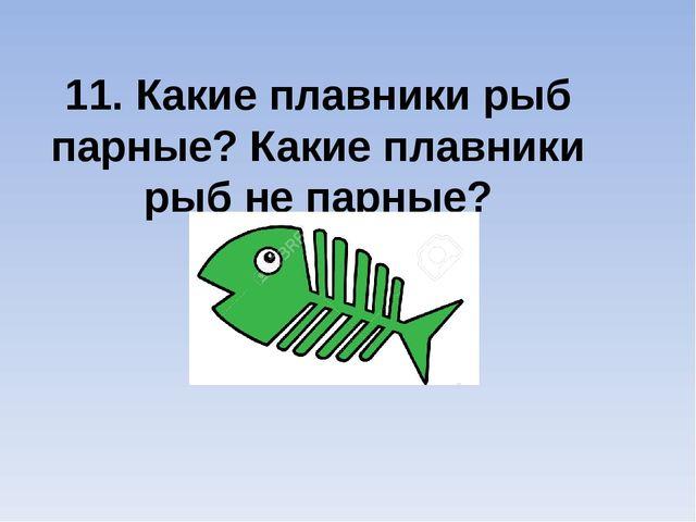 11. Какие плавники рыб парные? Какие плавники рыб не парные?
