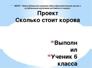 Выполнил Ученик 6 класса Ванюшин А Учитель Атаманова Н.А МБОУ «Шильнебашская