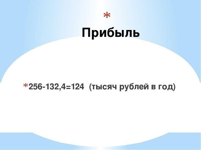 Прибыль 256-132,4=124 (тысяч рублей в год)