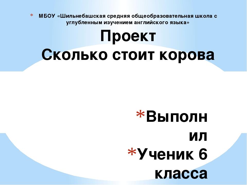 Выполнил Ученик 6 класса Ванюшин А Учитель Атаманова Н.А МБОУ «Шильнебашская...