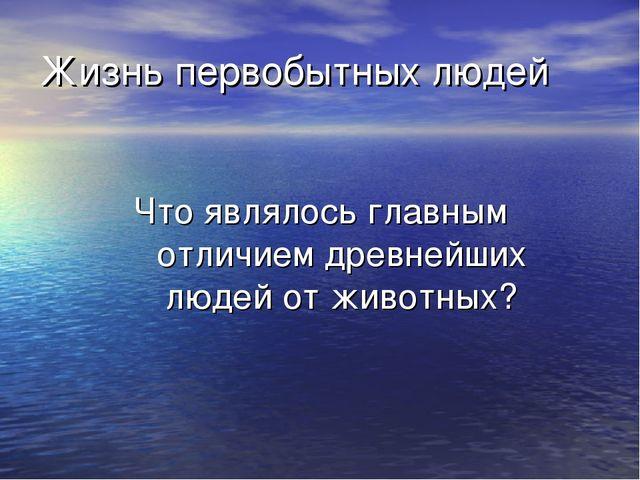 Жизнь первобытных людей Что являлось главным отличием древнейших людей от жив...