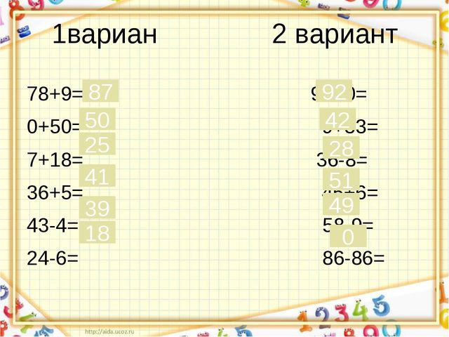 1вариан 2 вариант 78+9= 92+0= 0+50= 9+33= 7+18= 36-8= 36+5= 45+6= 43-4= 58-9=...