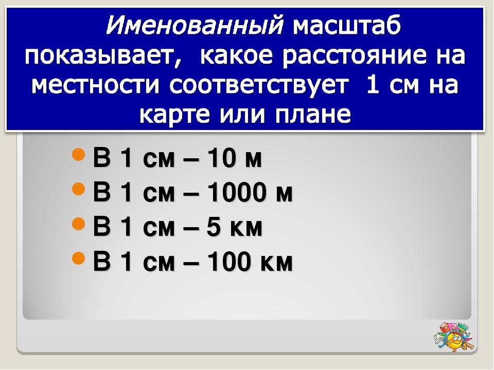 В 1 см – 10 м В 1 см – 1000 м В 1 см – 5 км В 1 см – 100 км
