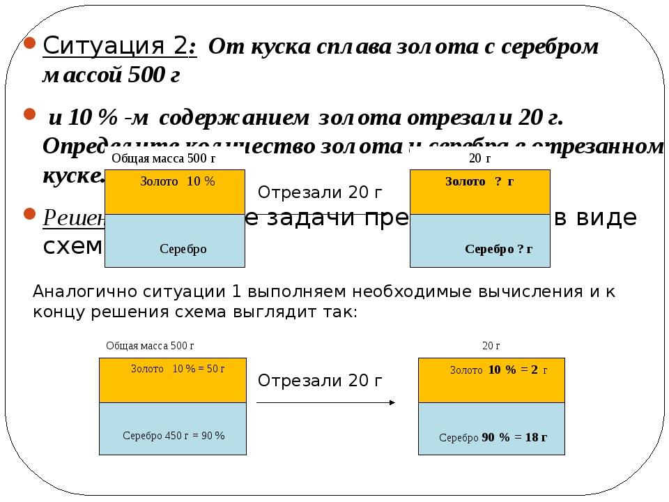 Ситуация 2: От куска сплава золота с серебром массой 500 г и 10 % -м содержан...