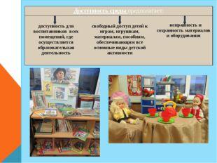 Доступность средыпредполагает: доступность для воспитанников всех помещений
