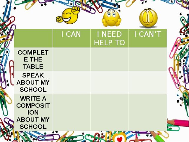 I CAN I NEED HELP TO I CAN'T COMPLETE THE TABLE SPEAKABOUT MY SCHOOL WRITEA...