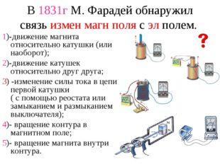 В 1831г М. Фарадей обнаружил связь измен магн поля с эл полем. 1)-движение ма