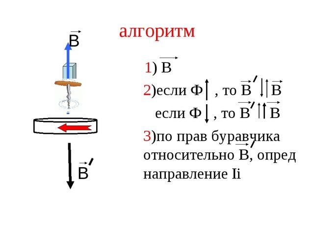 алгоритм 1) В 2)если Ф , то В В если Ф , то В В 3)по прав буравчика относител...