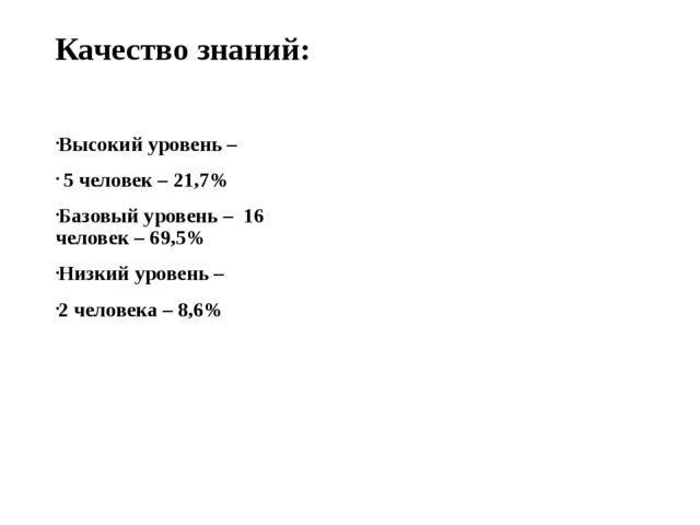 Качество знаний: Высокий уровень – 5 человек – 21,7% Базовый уровень – 16 чел...