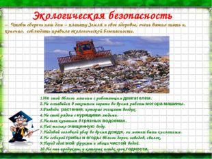 Экологическая безопасность – Чтобы сберечь наш дом – планету Земля и свое здо