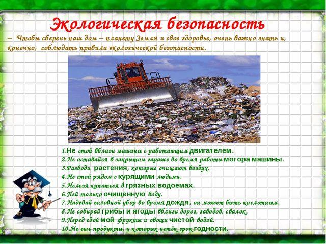 Экологическая безопасность – Чтобы сберечь наш дом – планету Земля и свое здо...