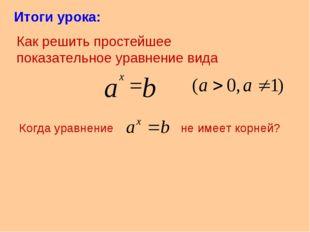 Итоги урока: Как решить простейшее показательное уравнение вида Когда уравнен