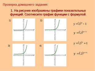 1. На рисунке изображены графики показательных функций. Соотнесите график фун