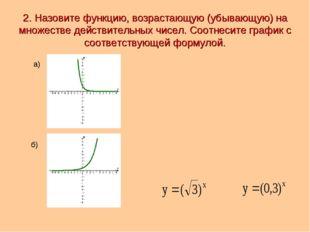 2. Назовите функцию, возрастающую (убывающую) на множестве действительных чис