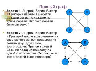 Полный граф Задача 1. Андрей, Борис, Виктор и Григорий играли в шахматы. Кажд
