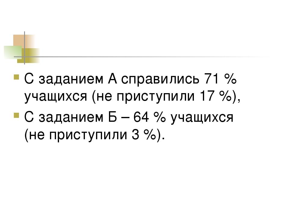 С заданием А справились 71 % учащихся (не приступили 17 %), С заданием Б – 64...
