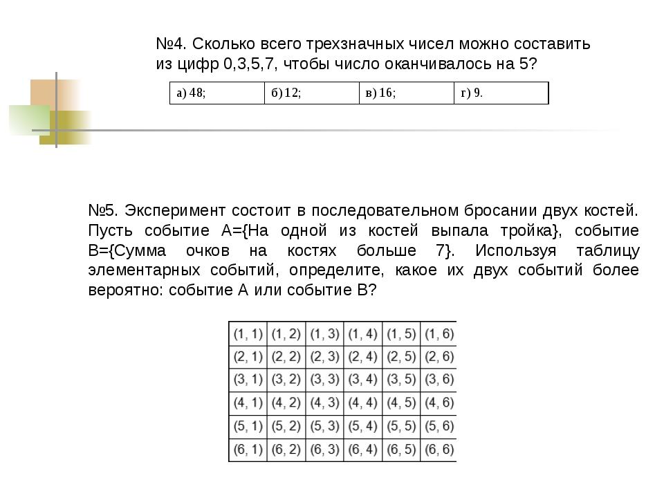№4. Сколько всего трехзначных чисел можно составить из цифр 0,3,5,7, чтобы чи...
