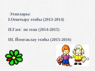 Этаплары: I.Оештыру этабы (2013-2014) II.Гамәли этап (2014-2015) III. Йомгак