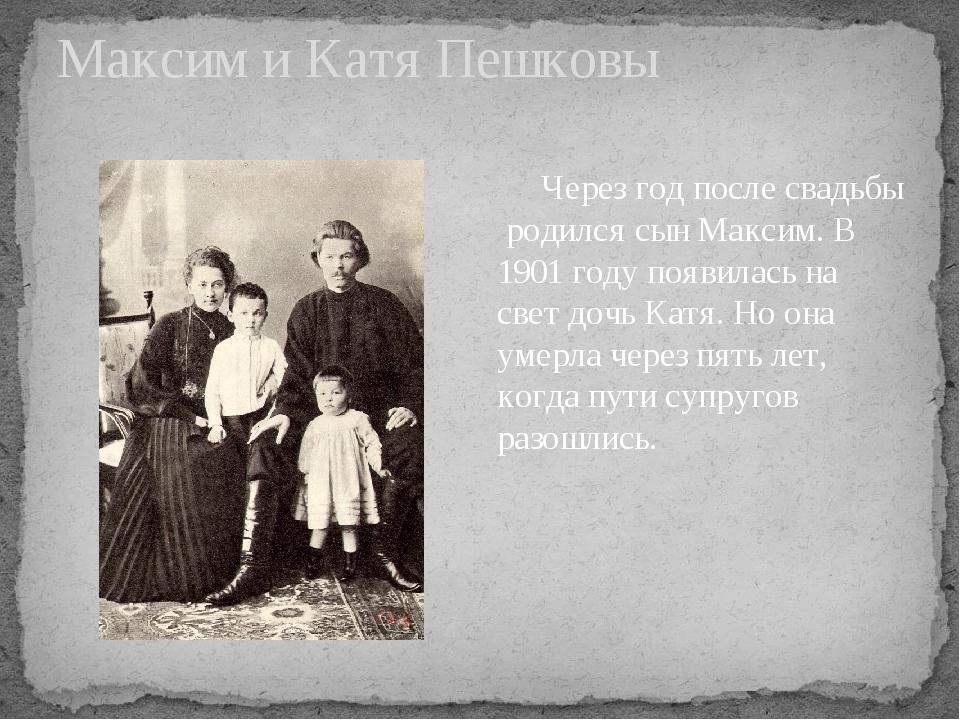 Максим и Катя Пешковы Через год после свадьбы родился сын Максим. В 1901 году...