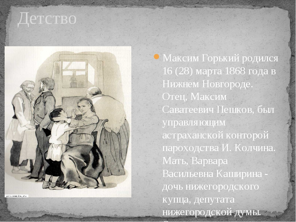 Детство Максим Горький родился 16 (28) марта 1868 года в Нижнем Новгороде. От...