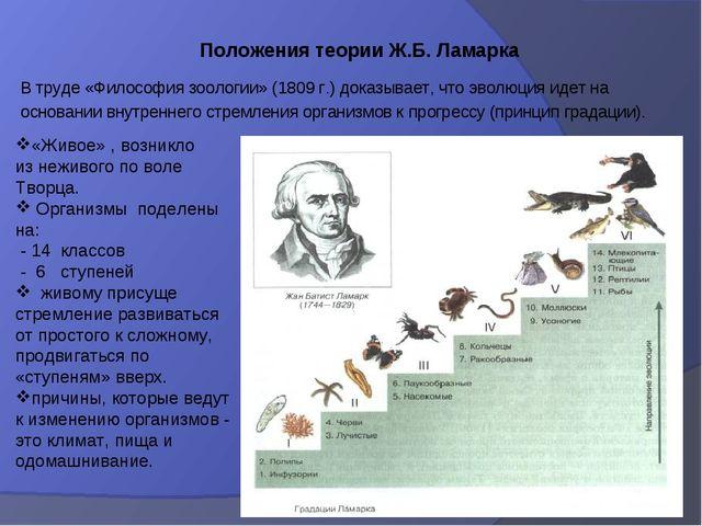 В труде «Философия зоологии» (1809 г.) доказывает, что эволюция идет на основ...