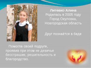 Друг познаётся в беде Литевко Алина Родилась в 2005 году Город Окуловка, Новг