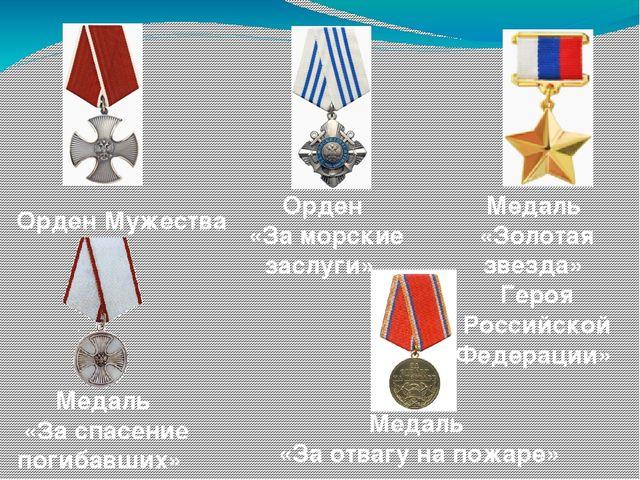 Медаль «Золотая звезда» Героя Российской Федерации» Медаль «За отвагу на пожа...