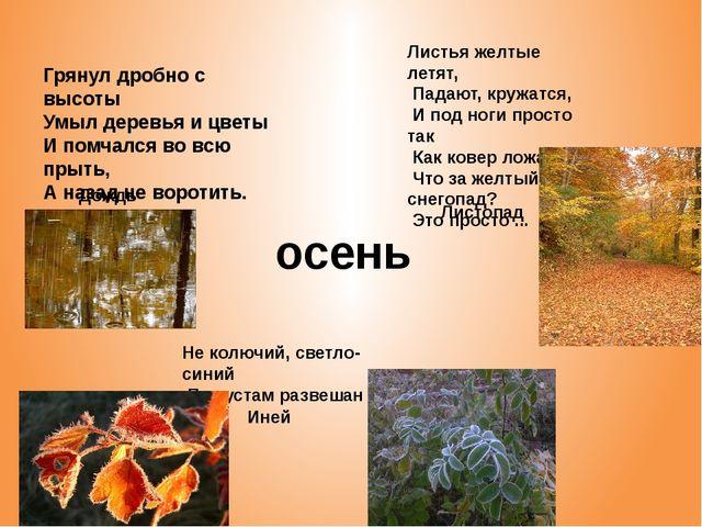 Дождь Грянул дробно с высоты Умыл деревья и цветы И помчался во всю прыть, А...