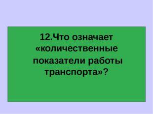 12.Что означает «количественные показатели работы транспорта»?