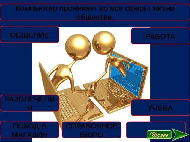 Компьютер проникает во все сферы жизни общества. ОБЩЕНИЕ РАБОТА РАЗВЛЕЧЕНИЯ У...