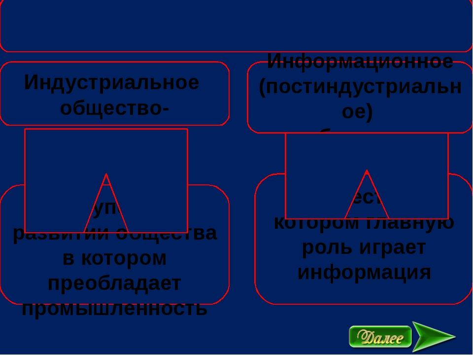 Индустриальное общество- Информационное (постиндустриальное) общество- - сту...