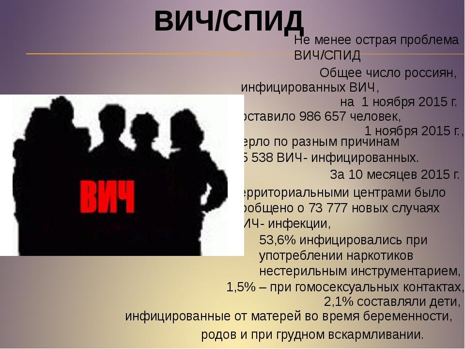 ВИЧ/СПИД Не менее острая проблема ВИЧ/СПИД Общее число россиян, инфицированны...
