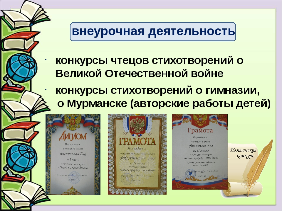 конкурсы стихотворений о гимназии, о Мурманске (авторские работы детей) конку...