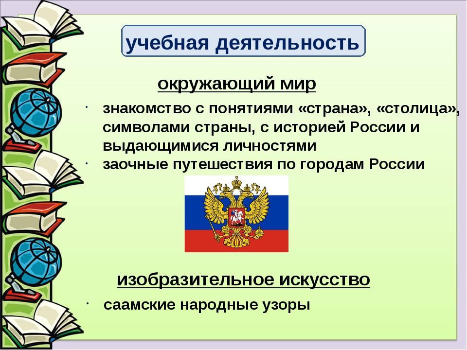 знакомство с понятиями «страна», «столица», символами страны, с историей Росс...