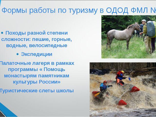 Формы работы по туризму в ОДОД ФМЛ № 239 Походы разной степени сложности: пеш...