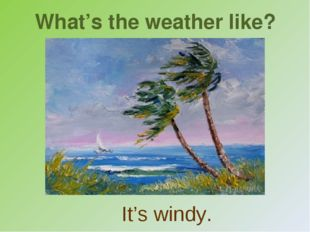 What's the weather like? It's windy.