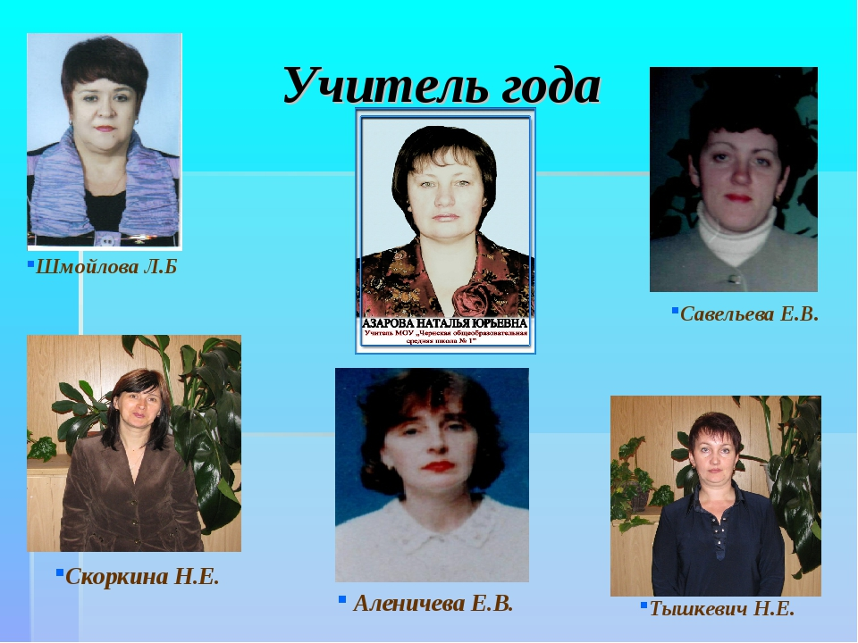 Учитель года Шмойлова Л.Б Скоркина Н.Е. Савельева Е.В. Аленичева Е.В. Тышкеви...